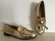 COACH GOLD-TONE LUXURY, LEATHER SIZE 7, TASSEL LOAFERS