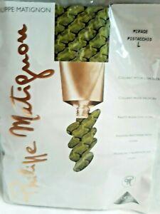 Philippe Matignon Tights Pantyhose Green Textured Mirage Pistachio Lycra sz L