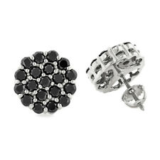 1.20Ct Round-Cut Black Diamond Cluster Stud Earrings Solid 14K White Gold Finish