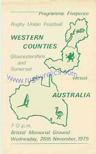 More details for western counties (gloucestershire & somerset) v australia 26 nov 1975 rugby prog