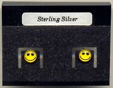 Yellow Smiley Face Sterling Silver 925 Studs Earrings Carded