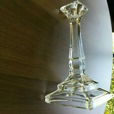 SET OF 2 CLEAR GLASS LONG STEM CANDLE HOLDERS