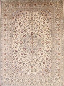 Floral Old Hand-knotted Ivory Traditional Oriental Area Rug Wool Carpet 10x13 ft