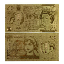WR British New Polymer £10 Pound Gold Foil Banknote 2017 Chirstmas Gifts for Him