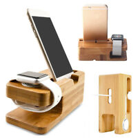 Wood Bamboo Charging Dock Station Charger Stand Holder For iPhone Apple Watch B