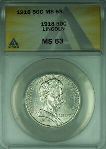 1918 Lincoln Commemorative Silver Half Dollar 50c ANACS MS-63  (39)