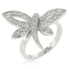 New Rhodium Dragonfly Cocktail Ring With 26 CZ's -Sz 10