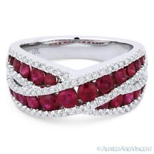 Band Right-Hand Ring in 18k White Gold 1.87ct Round Cut Red Ruby & Diamond Pave