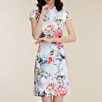 Women Ladies Oriental Style Flag Dress Cap Sleeve UK Size 8 10 12 14 16 18 39589