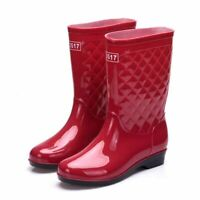 Women's Elastic Mid Calf Rain Boots Waterproof Anti-skid Rubber Shoe Solid Color