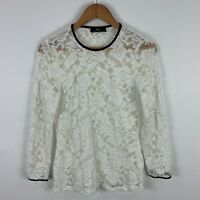 CUE Womens Blouse Top 14 Petite White Floral Long Sleeve Round Neck Lace