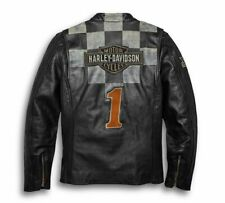 Harley Davidson Mens Race-Inspired Vintage Distressed Leather Jacket EC