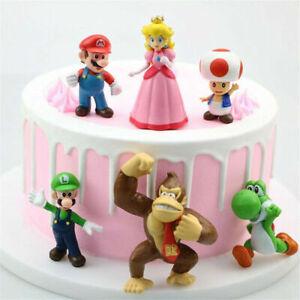 6x Super Mario Figures Luigi Yoshi Friend Toy Cake Topper Figurine Decor Gift AU
