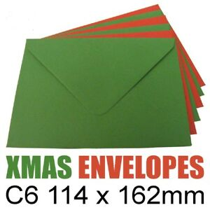 100 x C6/A6 Christmas Green & Red Top Quality Envelopes