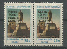 "1975 TURKEY CYPRUS  20M ""19"" OMMITTED ERROR IN PAIR MNH"