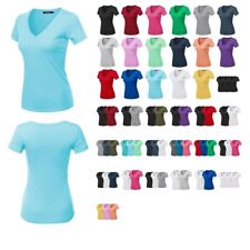 FashionOutfit Women's Top Solid Basic Ring Spun Cotton V-Neck Short Sleeves Tee