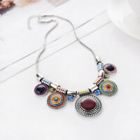 Boho Beaded Oval Collar Pendant Necklace Long Chain Sweater Women Jewelry Gift