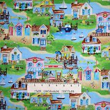 Nautical Fabric - Seaside Village Beach Scene Green - South Sea Imports YARD