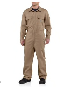 NEW CARHARTT Flame Resistant Traditional Twill Coverall Khaki 56 Reg 101017