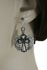 Women Silver Metal Western Fashion Jewelry Earrings Set Angel Wings Cross Texas