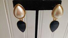 Vintage Monet Goldtone Metal Faux Pearl Blue Tear Drop Dangle Clip-On Earrings