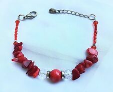 """Fashion Red Coral Beads/ Red & Clear Crystal Beads Bracelet 7""""+2"""" Extension Bnew"""