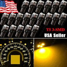 20X Amber Yellow T5 3SMD LED bulb Dashboard Dash Door Speedometer Light 17 18 74