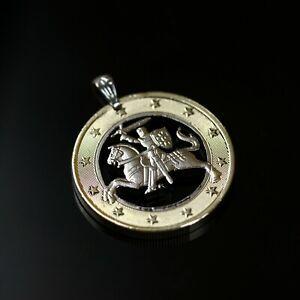 Lithuania 1 Euro, Cut Coin Pendant with Necklace. Lietuva Vytis horse armor knig