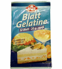 RUF Gelatine Sheets, 12 leaves, 20g German Leaf Gelatine, Gold Extra Quality