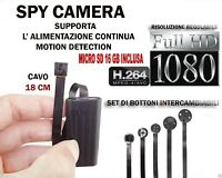 MICROSPIA SPY CAMERA SPIA FULL HD +SD 16GB  MOTION DETECTION TELECAMERA MICRO