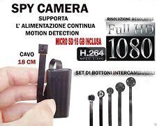 MICROSPIA SPY CAMERA SPIA FULL HD +SD 16GB  MOTION DETECTION TELECAMERA MICRO