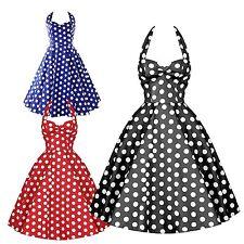 Damenkleider im 50er-Jahre-Stil mit V-Ausschnitt und Baumwolle