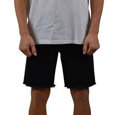 Men's Afends Stock Plain Cut Off Denim Shorts Black