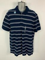BNWT MENS MARKS&SPENCER XL BLUE&WHITE STRIPE SHORT SLEEVE CASUAL POLO SHIRT TOP