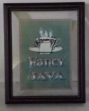 "Small Wall Art Framed Glass Fancy Java Coffee 8"" x 6 1/2"""