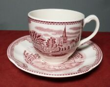 "JOHNSON BROS. ""Old Britain Castles"" Pink CUP AND SAUCER SET ~ Made in England"