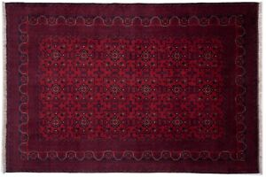 Afghan Khal Mohammadi Fine Carpet Hand Knotted 200x290 Red Oriental Wool