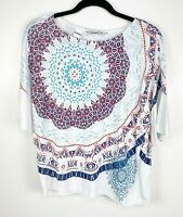 Desigual Womens size Medium Geometric Floral Front Flutter Sleeve Top Jeweled