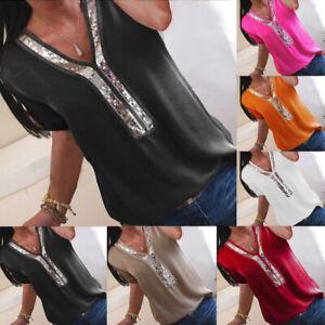UK Womens Lace Summer Sequins Loose Basic Blouse Tee Ladies Short Sleeve Tops
