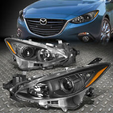 For 14-17 Mazda 3 Pair Black Housing Amber Corner Projector Headlight Head Lamp (Fits: Mazda)