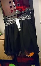 LITTLE MISTRESS BLACK PUFF/TUTU SKIRT W/SILVER SEQUINS SIZE 12 NEW WITH TAGS