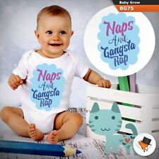 Naps and Gangsta rap funny cute BABYGROW BABY GROW  ALL SIZES Unisex !
