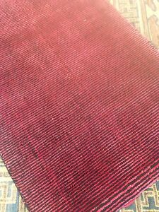Modern Spectacular Hand Made Area Rug Thin Stripes Rust/black 9' x12' New