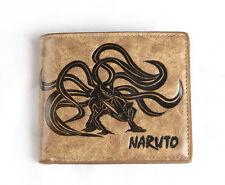 Japanese Anime NARUTO shippuden PU short wallet with bijuu Kurama/kyuubi Khaki