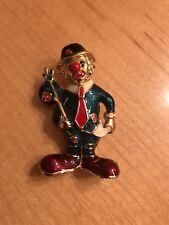 Tone Clown Brooch Pin Multi Color Enamel Gold