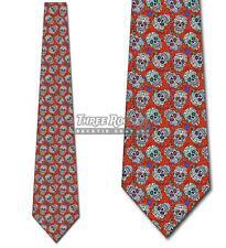 Sugar Skull Red RepeatTies Day of the Dead Tie Men's Halloween Ties