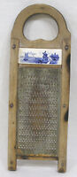 "Vintage Kitchen Grater Wood with Delft Porcelain Insert 1940s  - 12 1/2"" Long"