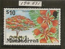 MONTSERRAT 1980 $10 OHMS DOUBLE OVPT SG41a VFU WITH ROYAL CERTIFICATE