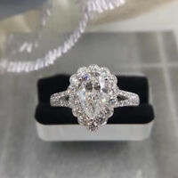 Real 14k White Gold Pear Cut Halo Set Diamond Wedding Engagement Ring For Womens