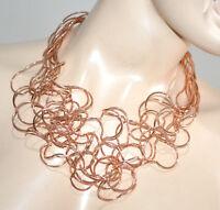 COLLAR oro rosa mujer gargantilla alambres elegante collier colar ожерелье G10
